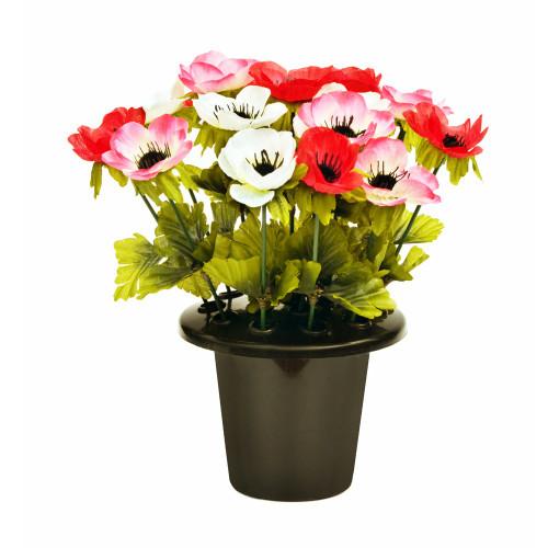 Artificial Grave Pot - 25cm Anemone, Pink