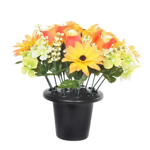 Artificial Grave Pot - 25cm Aster Hydrangea Rosebud, Orange