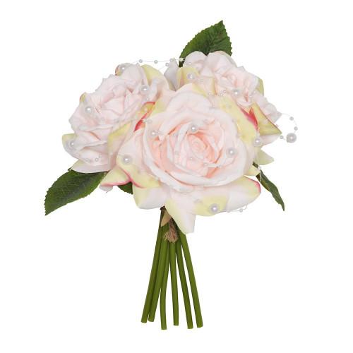 Artificial Flower Bouquet (3 Stems) - 23cm Rose Pearl, blush