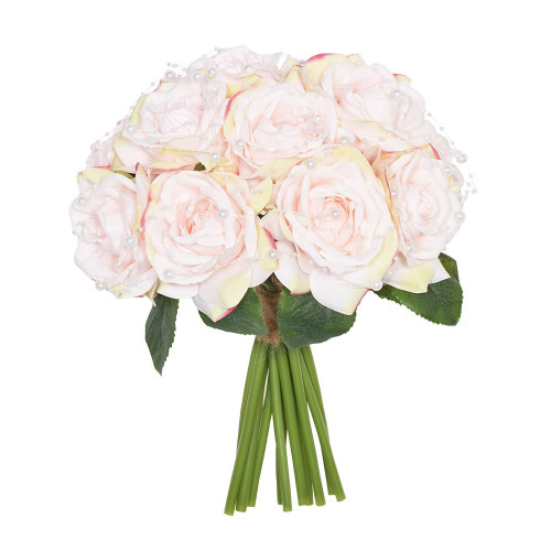 Artificial Flower Bouquet (11 Stems) - 33cm Rose Pearl, blush