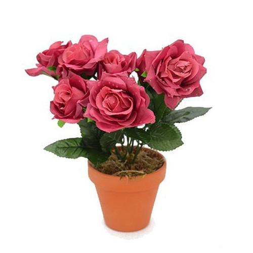 Artificial Raindrop Rose Bush, Dusky Pink