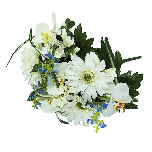 Bouquet - Gerbera / Orchid Bush, White And Green