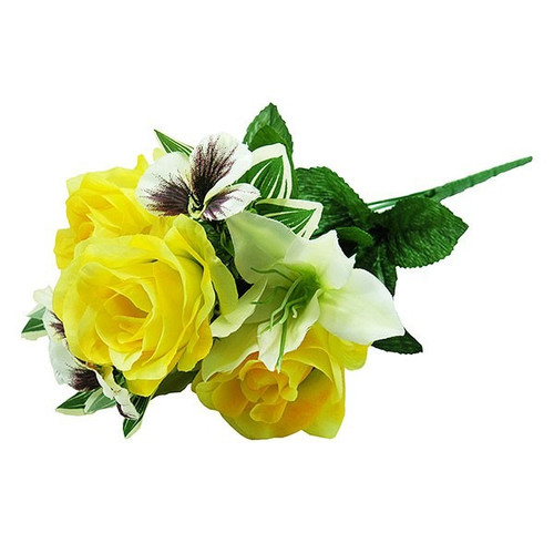 Bouquet - Rose / Lily / Pansy Bush, Cream and Yellow