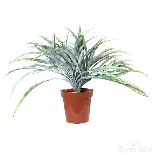 Artificial Potted Grass Bush, Silver And Green