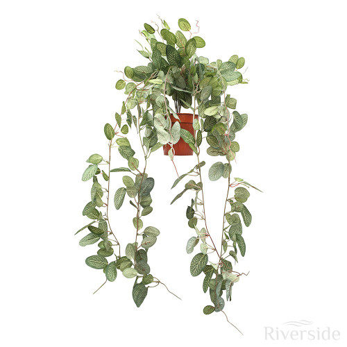 Artificial Potted Foliage Leaf Hanging Bush, Veined