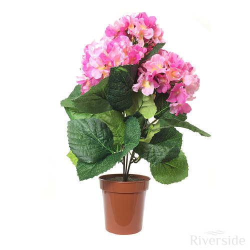 Artificial Potted Hydrangea Bush, Pink