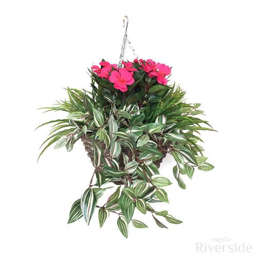 Artificial Hanging Basket - Impatiens, Beauty Pink