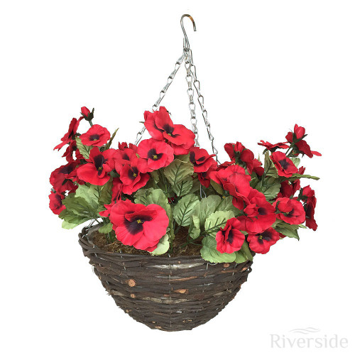 Artificial Hanging Basket - Pansy, Red