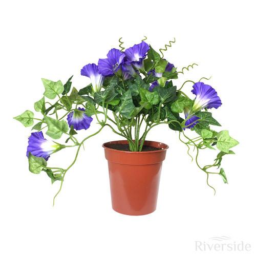 Artificial Potted Petunia Bush, Purple