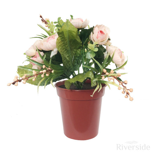 Artificial Small Potted Ranunculus And Berry, Salmon