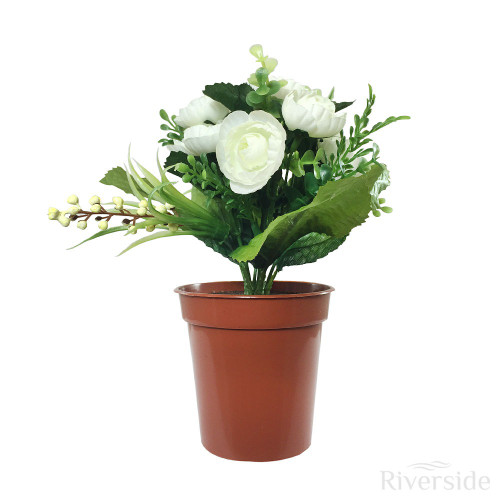 Artificial Small Potted Ranunculus And Berry, Cream
