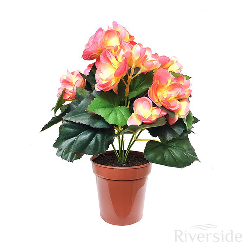 Artificial Flowers - Potted Begonia Bush, Pink