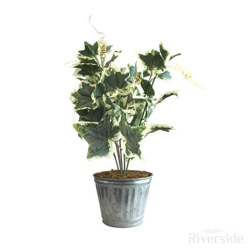 Artificial Maple Ivy Bush - Tin Pot, Variegated