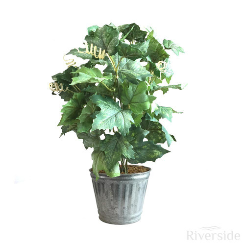 Artificial Maple Ivy Bush - Tin Pot, Green