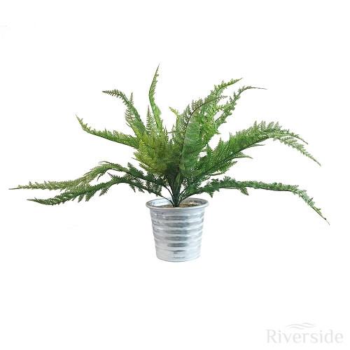 Artificial Boston Fern Plant - Tin Pot, Green