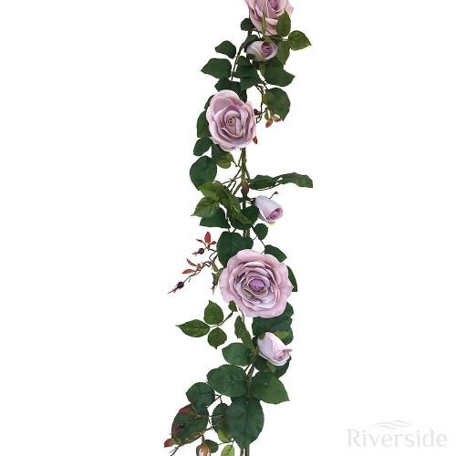 Artificial Garland - Plush Rose 180cm, Antique