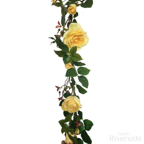 Artificial Plush Rose Flower Garland 180cm, Yellow