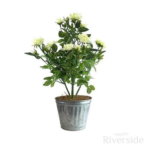 Artificial Flowers - 35cm Diamond Rose Bush - Tin Pot, Cream