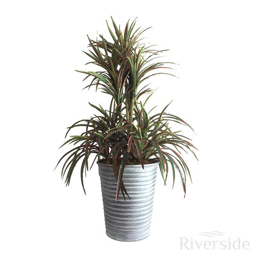 Artificial Yucca Arrangement, Green And Red (Silver Pot)
