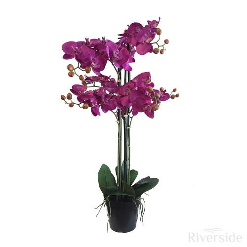 Artificial Orchid In Pot 90cm, Purple