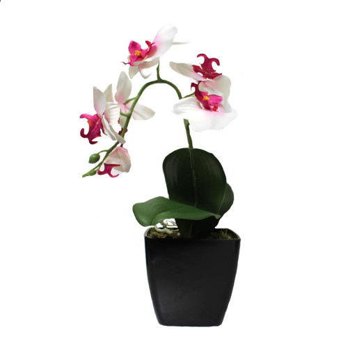 Artificial 38cm Orchid in Black Pot, Light Pink