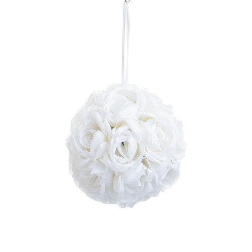 "Artificial Medium Rose Ball Hanger (7""), Cream"