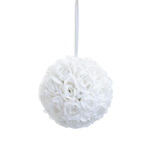 "Artificial Large Rose Ball Hanger (9""), Cream"