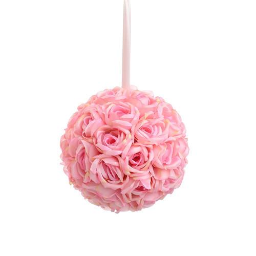 "Artificial Large Rose Ball Hanger (9""), Pink"