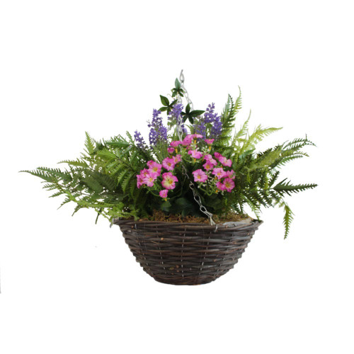 Artificial Hanging Basket - Morning Glory and Lavender, Mixed Colours