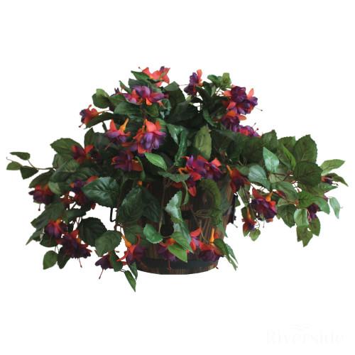 Artificial Fuchsia in Barrel Pot, Purple