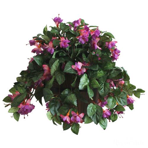 Artificial Fuchsia in Barrel Pot, Pink