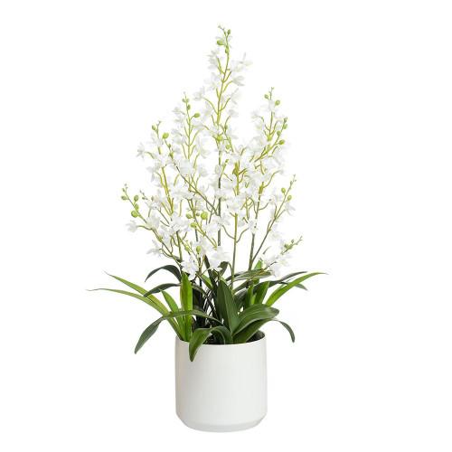 Artificial 76cm Orchid in Ceramic White Pot, Cream