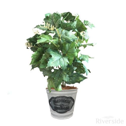 Artificial Maple Ivy Bush - White Tin Pot, Green 34cm