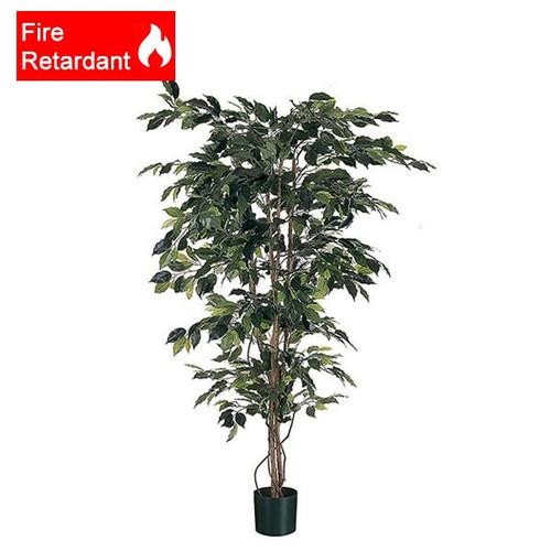 Fire Retardant 3 foot Artificial Ficus (92cm), Green