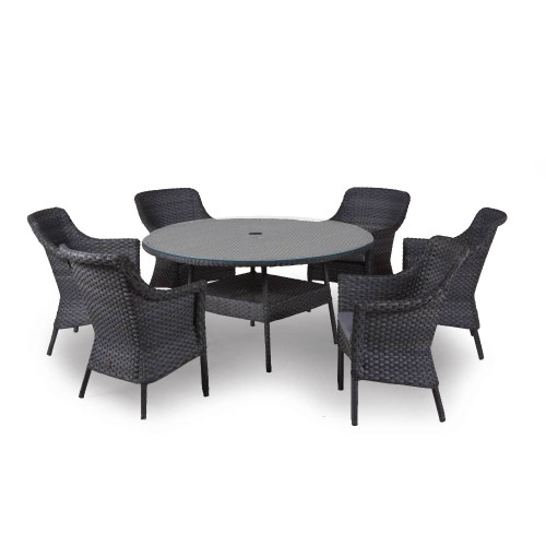 4 Seasons Outdoor - Boston 6 Seat Dining Set, Graphite with Parasol and Base