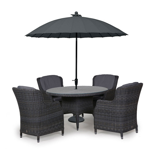 4 Seasons Outdoor - Brighton 4 Seater Rattan Dining Set with 130cm Round Table, Charcoal