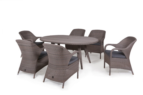 4 Seasons Outdoor - Sussex 6 Seater Dining Set, Polyloom Pebble