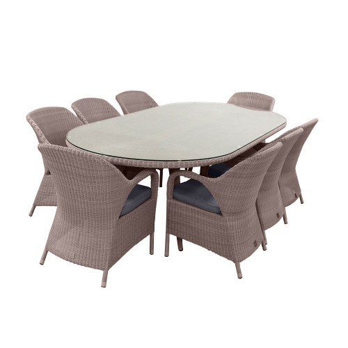 4 Seasons Outdoor - Sussex 8 Seater Dining Set With Oval Table 270cm, Polyloom Pebble