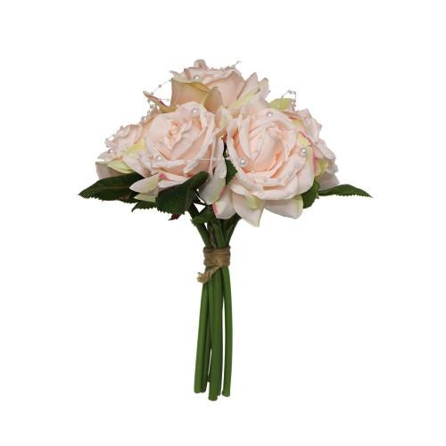 Artificial Flower Bouquet (7 Stems) - 30cm Rose Pearl, Blush