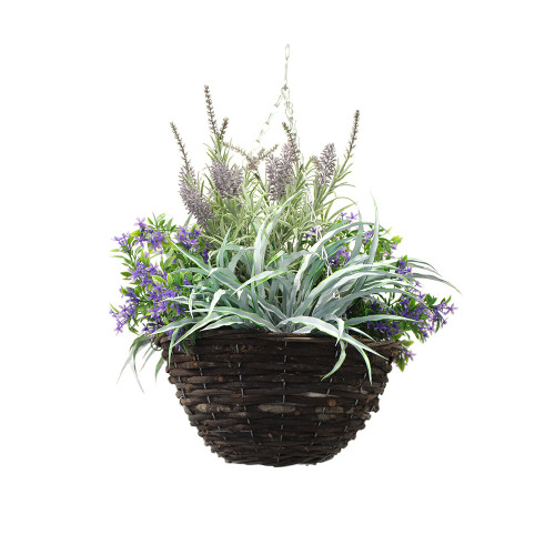 Artificial Lavender & Purple Starflower Hanging Basket