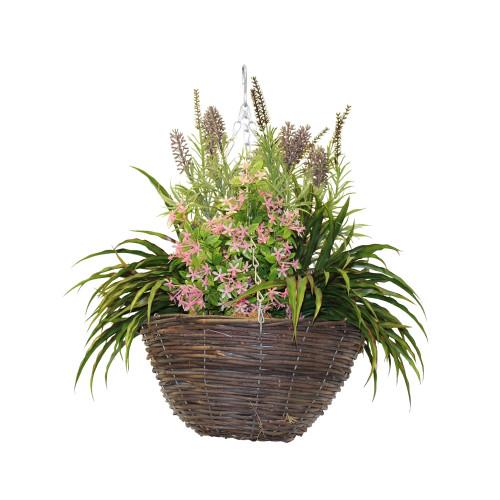 Artificial Lavender & Pink Starflower Hanging Basket