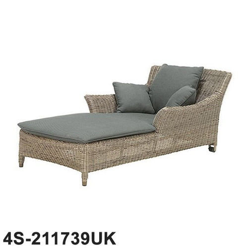 4 Seasons - Valentine Rattan Sun Lounger One Seater With 4 Cushions