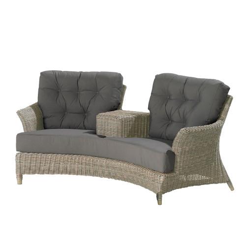 4 Seasons - Valentine Rattan Love Seat With 4 Cushions - Pure