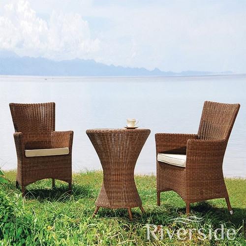 Alexander Rose San Marino Rattan Bistro Set With Oatmeal Cushions