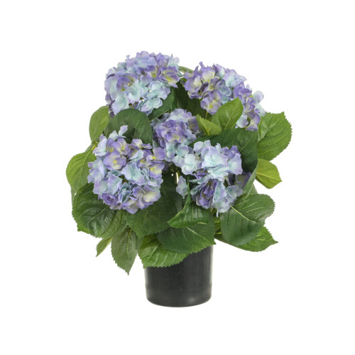 Artificial Potted Hydrangea Bush, Purple 40cm