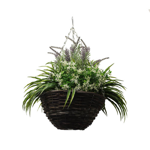 Artificial Lavender & Cream Starflower Hanging Basket