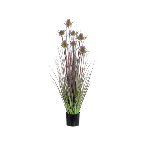 Artificial Thistle Grass With Pot 92cm ,Purple