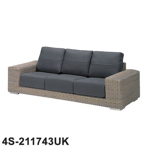 4 Seasons - Kingston 3 Seater Rattan Sofa With 6 Cushions - Pure