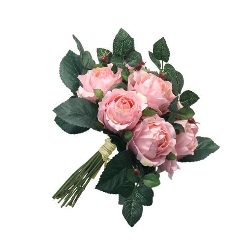 """Artificial 9"""" Rose Bouquet, Light Pink"""
