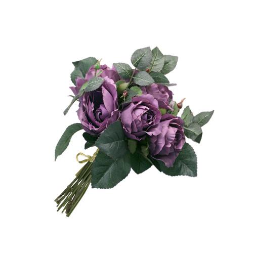 """Artificial 9"""" Rose Bouquet, Purple"""